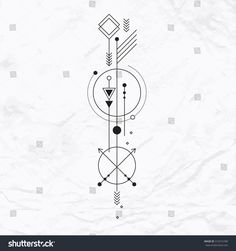 Abstract mystic sign with geometric shapes, triangles, chevrons, arrows, circles, dots and other symbols, planets paths. Vector linear illustration of magic craft. Modern, elegant, simple tattoo art