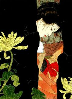 The art of Takato Yamamoto. He was born in Akita, Japan in 1960. After graduating from the Tokyo Zokei University, he experimented with the Ukiyo-e Pop style, then further refined and developed his own style. His first exhibition was held in Tokyo in 1998.