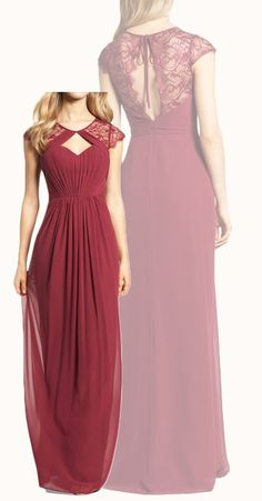 Cap Sleeves Lace Chiffon Long Bridesmaid Dress Burgundy Formal Gown