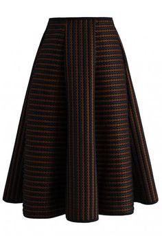 Versatile Stripes A-line Skirt - New Arrivals - Retro, Indie and Unique Fashion Chanel lipstick Giveaway Modest Fashion, Unique Fashion, Fashion Outfits, Womens Fashion, Fashion Design, Led Dress, Dress Skirt, Jw Mode, Skirt Outfits