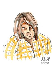 Neil Young, New York Times, Writer, David, Profile, Quote, Sign, Drawings, Illustration