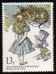 Postage stamp - UK, 1979 (Year of the Child: Alice in Wonderland - Lewis Carroll commemorative odd value) John Tenniel, Postage Stamp Art, Lewis Carroll, Adventures In Wonderland, Vintage Stamps, Stamp Collecting, Mail Art, Art Design, Oeuvre D'art