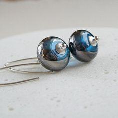 Lampwork Earrings   Blue Sterling Silver Glass Earrings by hildes, $28.00