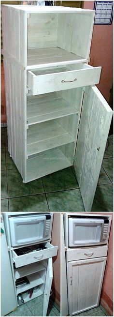 Look at the dazzling reused wooden pallet craft with the taste of pallet kitchen storage cabinet. This captivating, unique pallet project is designed with the beautiful arrangement of pallet boards in it. This fair pallet craft will allow you to place your electronic and other useful items in it.
