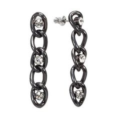 Rock and Republic Jet Simulated Crystal Linear Drop Earrings