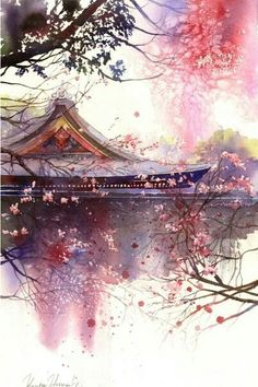 artwork by Kanta Harusaki. Kanta is a famous Japanese watercolorist who was born in Kumamoto. His watercolor work began at the age of 32 years. Fantasy Landscape, Landscape Art, Fantasy Art, Chinese Landscape, Japanese Painting, Japanese Art, Chinese Painting, Watercolor Landscape, Watercolor Art