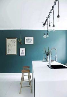 38 Ideas kitchen ideas blue walls teal for 2019 Furniture, Home Decor Kitchen, Interior, Dream Decor, Blue Kitchen Walls, Home Decor, House Interior, Farmhouse Kitchen Light Fixtures, Shabby Chic Kitchen