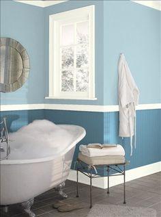 Top Color - Benjamin Moore Blue Stream Bottom - Benjamin Moore Buckland Blue
