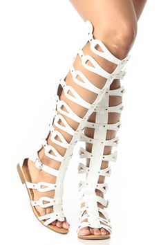 White Faux Leather Knee High Gladiator Sandals @ Cicihot Sandals Shoes online store sale:Sandals,Thong Sandals,Women's Sandals,Dress Sandals,Summer Shoes,Spring Shoes,Wooden Sandal,Ladies Sandals,Girls Sandals,Evening Dress Shoes