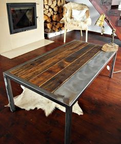 Industrial vintage Handmade Steel & Pine Coffee Table reclaimed wood Loft style by MadeFromWoodd on Etsy