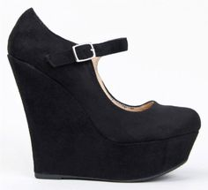 30f02f6dff57 Delicious KAYLA Basic Platform Wedge Heel Mary Jane Pump Product Features  Synthetic does-not-contain-animal-products. Stacy Knight · BLACK WEDGES ...