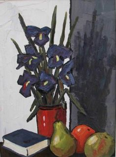 David Barnes - Irises, oil painting, 16 x 12 inches. Red Rag Gallery