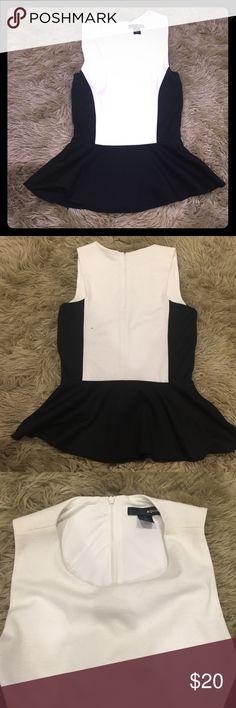 Aqua- Black and White Top Black and White Aqua Flare Top. Like New! Good condition Aqua Tops Blouses