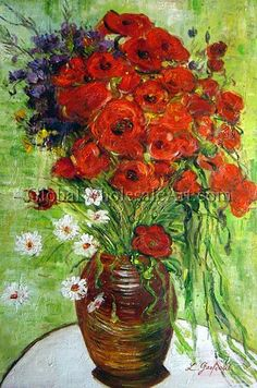"""Vase With Daisies and Poppies"" by Vincent Van Gogh Van Gogh Paintings, Paintings I Love, Painting Styles, Vincent Van Gogh Artwork, Van Gogh Landscapes, Visual Art Lessons, Decoupage, Still Life Flowers, Expressive Art"