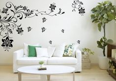 Interior, Black Floral Wall Decals For Small Living Rooms Design Ideas With Comfortable With Sofa And Comfy Cushion And Round White Coffee Table Design With Wooden Flooring Design Ideas: Exciting Interior Design Ideas Color Schemes Small Living Room Design, Small Living Rooms, Living Room Designs, Living Room Decor, Bedroom Decor, Deco Stickers, Wall Decor Stickers, Wall Decals, Wall Art