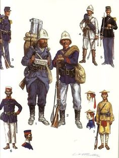 Photo by Plynkes Colonial Art, French Colonial, French Armed Forces, Army History, Osprey Publishing, Military Art, Military Pins, Navy Uniforms, French Foreign Legion