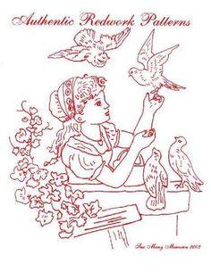 CD 30 Vintage Antique Redwork Hand Embroidery Designs | eBay