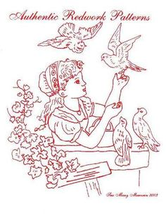 gorgeous embroidery pattern - girl with birds