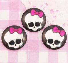 These extra cute emo skull characters with hot pink bows flat back glass cabochon disks are absolutely perfect for lots of crafts, including decoden, card making. #Jewelry #DIY