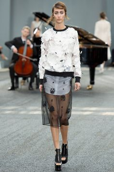 Erdem Spring 2014 RTW. sheer skirt over long top. black and white. 3D floral. embroidery. midi. platforms. #Erdem #Spring2014 #LFW