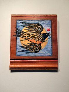 Bluebird of happiness hand painted folk art style by Wandergarden