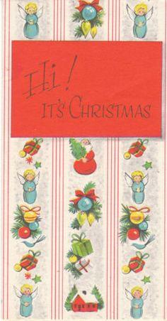 """Fun unused Mid-Century Christmas card - """"Hi! It's Christmas"""""""