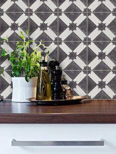 Tuiles de stickers - tuiles pour cuisine/salle de bain arrière la couleur l'encaustique marocain Riad vinyle tuile autocollant Pack splash - Stickers de sol - charbon de bois