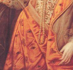 DIVA ELIZABETHAEyes and ears; detail of ELIZABETH I: THE RAINBOW PORTRAITattributed to Marcus Gheeraerts, c. 1600 (courtesy of Hatfield House)