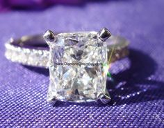 3 ct Cushion center in Pave diamond band by DiamondDirectBuy.com Private Jeweler in Chicago