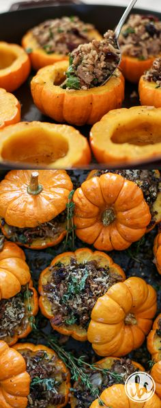 Stuffed Mini Pumpkins with Sausage, Rice, and Cranberry - Thanksgiving Side Dish