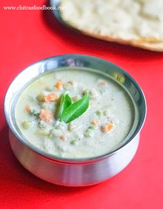 Hotel Saravana bhavan white kurma recipe for idiyappam, appam and chapathi. It is known as vellai kurma in Tamil which is made with vegetables and coconut. South Indian Vegetarian Recipes, South Indian Food, Indian Food Recipes, Vegetarian Cooking, Veg Recipes, Curry Recipes, Cooking Recipes, Kulambu Recipe, Kitchens