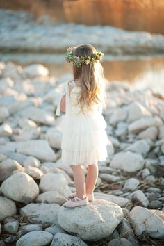 Flower girl dress - love, but of course with daisy's in the flower crown! And yellow shoes would be adorable.