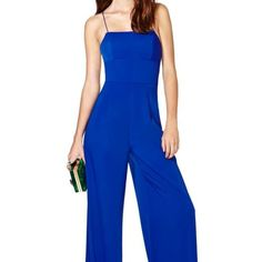 "Nastygal jumpsuit after midnight blue size xxs Prepare to dance, scream, laugh, raise hell, and have the best night of your life in Nasty Gal Prom Collection 2014! Deep cobalt blue chiffon jumpsuit featuring a paneled bodice, wide-leg fit, and strappy back. Hook/zip closure at side, lined at bust.  *Polyester/Spandex  *30""/76cm bust  *26""/66cm waist  *60""/152cm length  *Model is wearing size small  *Measurements taken from a size small  *Machine wash cold  Worn once like brand new Nastygal…"