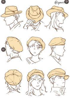 """""""안녕하세요~ 이번 강좌는 다양한 모자를 그리는 방법과 예시예요! 캐릭터성에 맞게 어울리는 모자를 씌워 주면 개성있어 보인답니다! 그럼 다음번에는 다른 강좌로 찾아뵐게요!"""" Body Reference Drawing, Drawing Reference Poses, Realistic Hair Drawing, Hair Reference, Drawing Anime Clothes, Drawings Of Clothes, Drawing Anime Bodies, Clothing Sketches, Anime Drawings Sketches"""