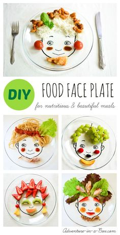DIY Food Face Plate: Create nutritious and beautiful meals for kids, use them as prompts to introduce food art to your family or give as handmade gifts to new parents! food DIY Food Face Plate: for Nutritious & Beautiful Meals! Food Art For Kids, Cooking With Kids, Food Kids, Kids Cooking Party, Children Food, Cooking Food, Food Crafts, Diy Food, Toddler Meals