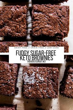 Keto Brownies - fudgy, grain-free, dairy-free, sugar-free healthy brownie recipe! #grainfree #paleo #sugarfree #brownies #chocolate #dairyfree #dessert