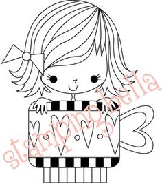 Stamping Bella Unmounted Rubber Stamp-Zoe The Hearty Mug Girl