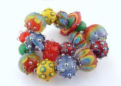 PT Handmade Lampwork Glass Festival of the Sun rainbow bead medley SRA  #SRAOOAKHandmadeLampwork #Lampwork