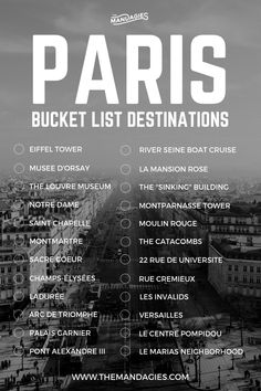 Paris, France Bucket List. Save this pin for travel inspiration later, and click the link for more European travel tips! #Paris #france #travel #europe #bucketlist #EiffelTower #Sacrecoeur #louvre #city #french #arcdetriomphe
