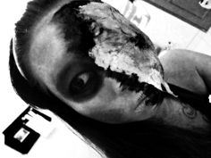Playing with Latex.. make a half broken face and shadowing with blood effect.. but im not sure when i did BW effect here.. still love it.. zombie ahah #MakeUp #MakeUpFX #effect #zombie #BlackandWhite