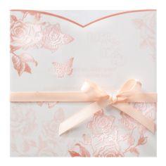 Trouwkaart met transparante omslag van rozen en zachtroze lintje Hair Accessories, Decoration, Frame, Flowers, Eos 60d, Pentax K, Naoto, 5d Mark, Weddings