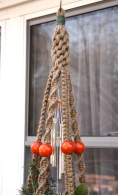 Fiesta! , originally uploaded by Macramakin- Natural Macrame by Ellen. Big bold vintage orange beads bring the Fiesta to life! About 4ft long, with big Chinese crown knots at the top, followed by 6…