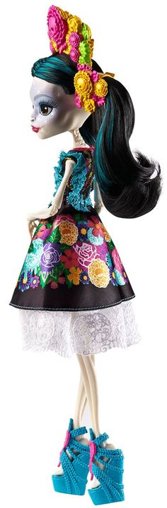 - Favorite Monster High character, Skelita Calaveras, daughter of Los Eskeletos - Comes alive in a luxe outfit inspired by traditional Mexican clothing from Oaxaca - The vibrantly colorful design on h