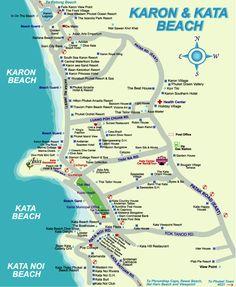 kata beach Phuket Thailand Attractions map | Karon Beach And Kata Beach Map.