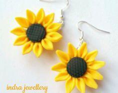 sunflower earrings sun flowers sunflowers yellow by indrajewellery