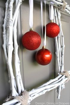 Winter Twig Wreath by Design, Dining + Diapers, diy wreath, white wreath, christmas wreath, red and white, square wreaths, ornaments on wrea...