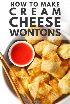 An ultimate guide to making sweet, spicy and regular cream cheese wontons with options to deep fry, air fry and bake in the oven! Cream Cheese Wontons, Make Cream Cheese, Cream Cheese Recipes, Wonton Filling Recipes, Appetizer Recipes, Asian Appetizers, Dessert Recipes, Baked Wontons, Deep Fried Wontons
