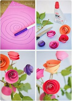 Liven up the place with this easy spiral paper flower tutorial diy so simple crafty paper flowers cute mothers day gift mightylinksfo
