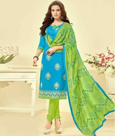 Buy Blue Cambric Cotton Churidar Suit 77845 online at lowest price from huge collection of salwar kameez at Indianclothstore.com.
