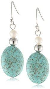 Turquoise Oval Bead Dangle Earrings
